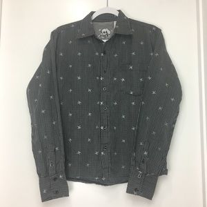 Fred El Howard Plaid Skull Button Up Size Small